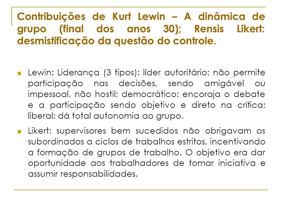 Contribuições de Kurt Lewin – A dinâmica de grupo (final dos anos 30); Rensis Likert: desmistificação da questão do controle.