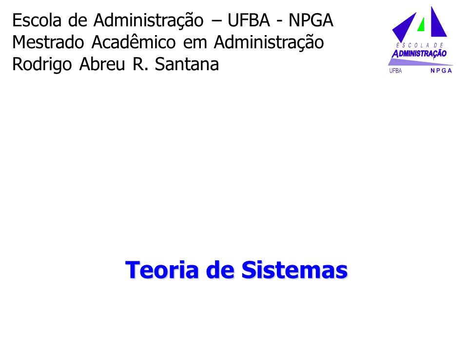 Teoria de Sistemas Escola de Administração – UFBA - NPGA