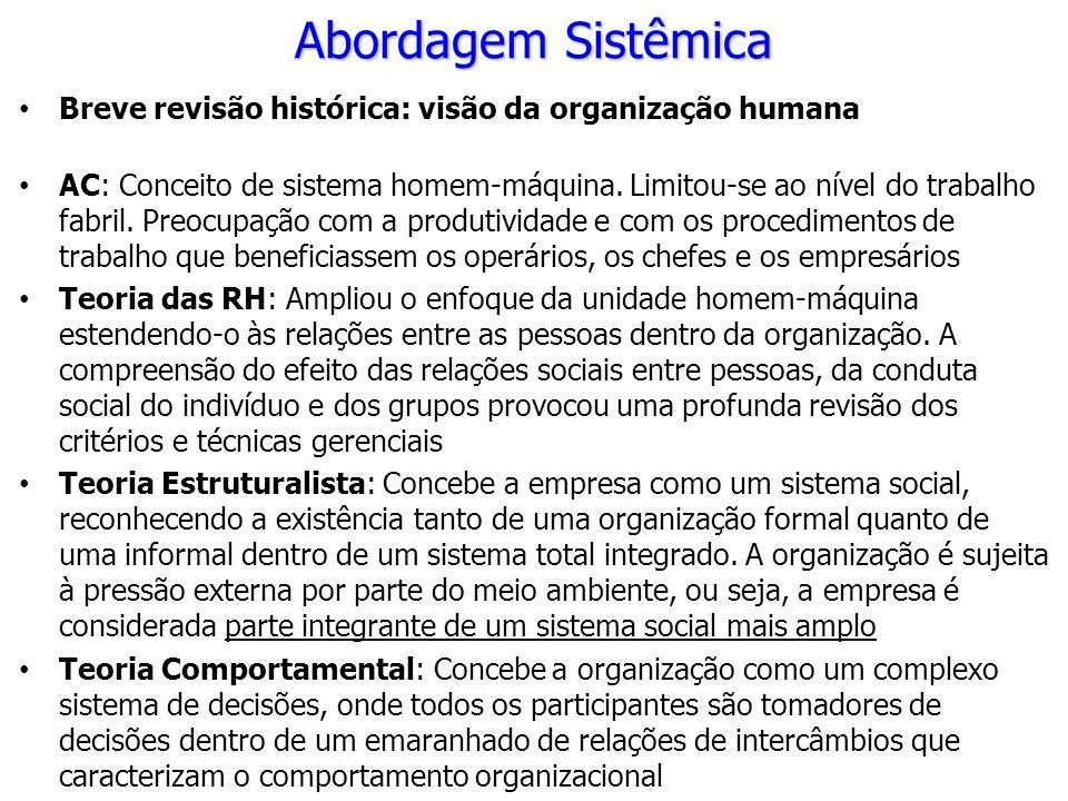 Abordagem Sistêmica Breve revisão histórica: visão da organização humana.