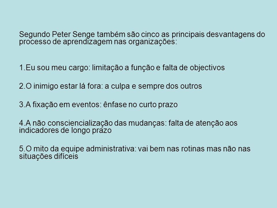 Segundo Peter Senge também são cinco as principais desvantagens do processo de aprendizagem nas organizações: