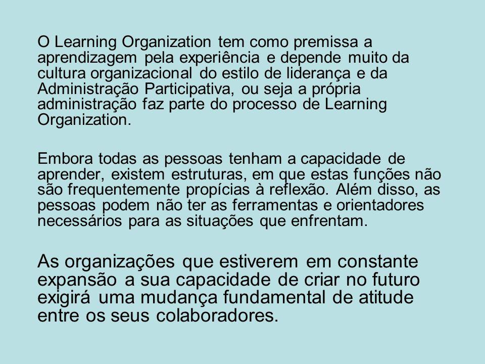 O Learning Organization tem como premissa a aprendizagem pela experiência e depende muito da cultura organizacional do estilo de liderança e da Administração Participativa, ou seja a própria administração faz parte do processo de Learning Organization.
