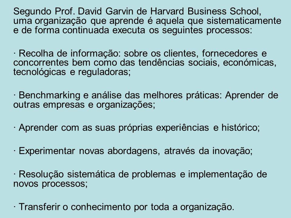 Segundo Prof. David Garvin de Harvard Business School, uma organização que aprende é aquela que sistematicamente e de forma continuada executa os seguintes processos: