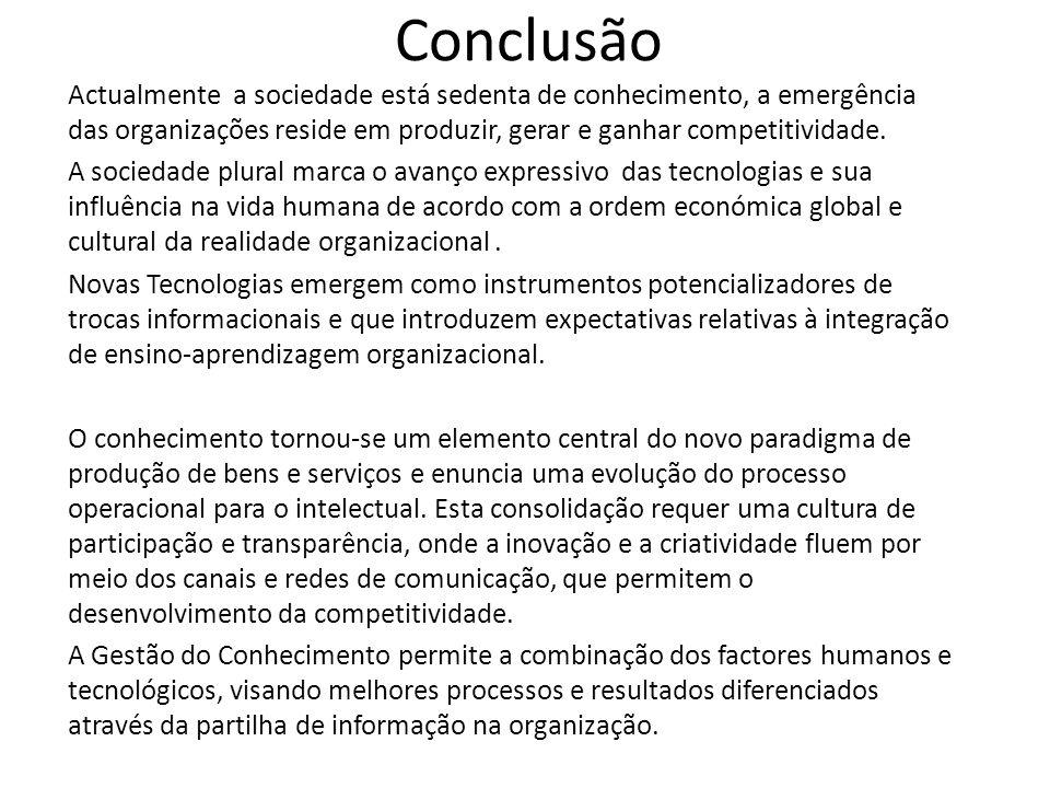 Conclusão Actualmente a sociedade está sedenta de conhecimento, a emergência das organizações reside em produzir, gerar e ganhar competitividade.