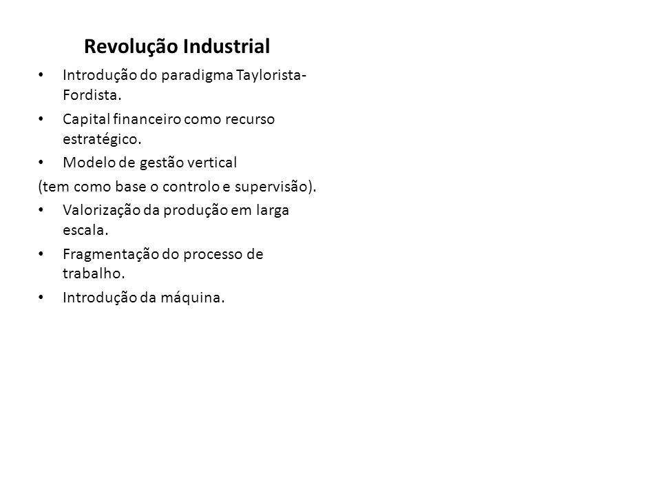 Revolução Industrial Introdução do paradigma Taylorista-Fordista.