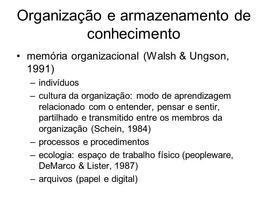 Organização e armazenamento de conhecimento
