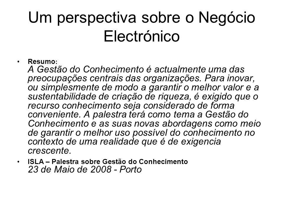 Um perspectiva sobre o Negócio Electrónico