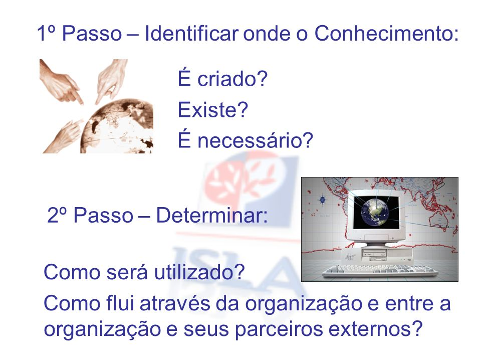 1º Passo – Identificar onde o Conhecimento: