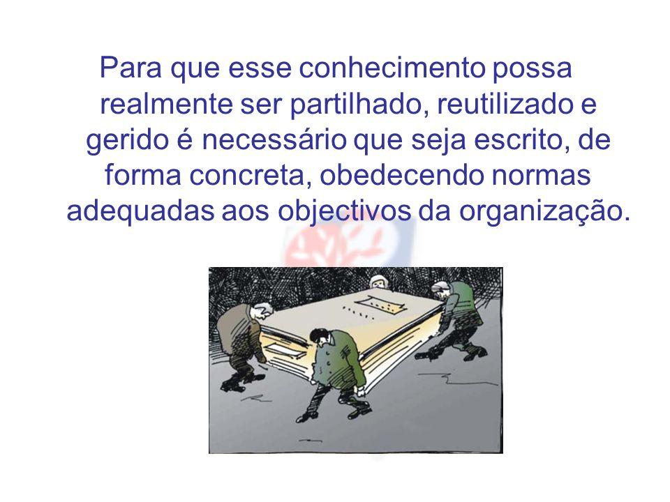 Para que esse conhecimento possa realmente ser partilhado, reutilizado e gerido é necessário que seja escrito, de forma concreta, obedecendo normas adequadas aos objectivos da organização.