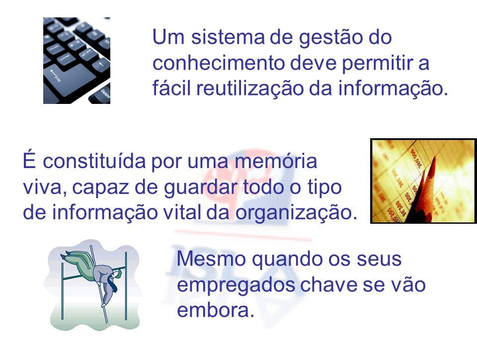 Um sistema de gestão do conhecimento deve permitir a fácil reutilização da informação.