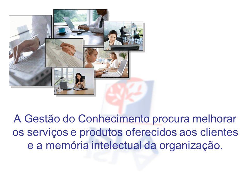 A Gestão do Conhecimento procura melhorar os serviços e produtos oferecidos aos clientes e a memória intelectual da organização.