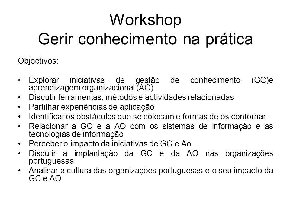 Workshop Gerir conhecimento na prática