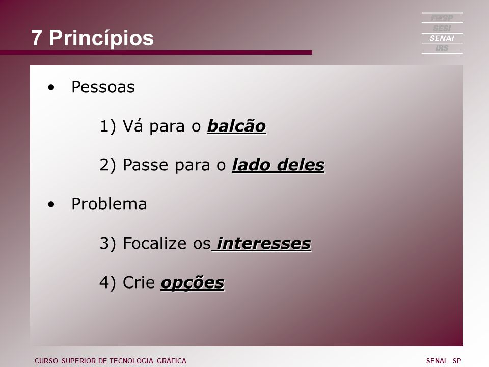 7 Princípios Pessoas 1) Vá para o balcão 2) Passe para o lado deles