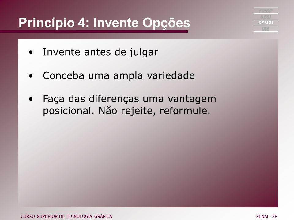 Princípio 4: Invente Opções