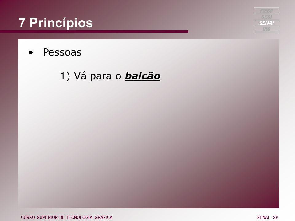 7 Princípios Pessoas 1) Vá para o balcão