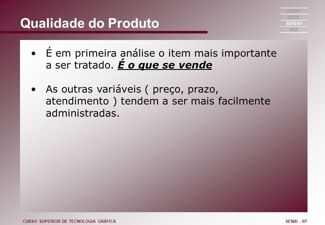 Qualidade do Produto É em primeira análise o item mais importante a ser tratado. É o que se vende.