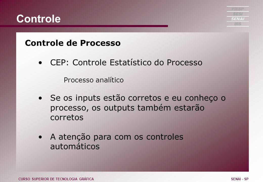 Controle Controle de Processo CEP: Controle Estatístico do Processo