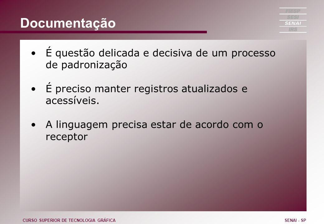 Documentação É questão delicada e decisiva de um processo de padronização. É preciso manter registros atualizados e acessíveis.
