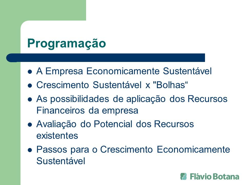 Programação A Empresa Economicamente Sustentável
