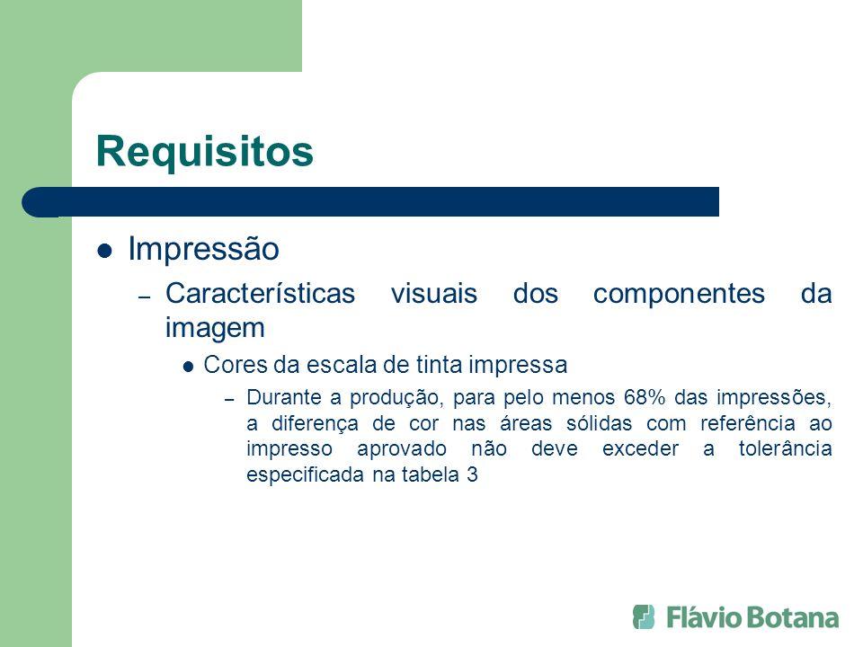 Requisitos Impressão Características visuais dos componentes da imagem