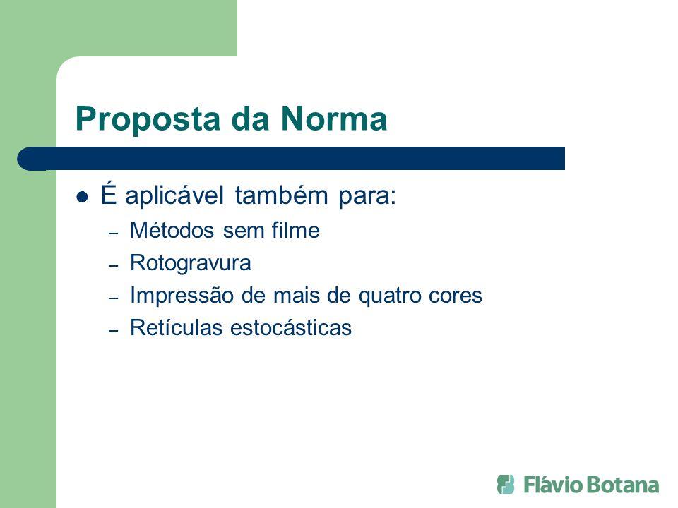 Proposta da Norma É aplicável também para: Métodos sem filme