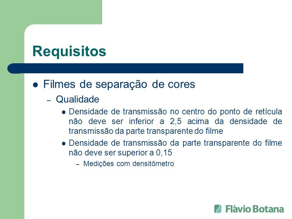 Requisitos Filmes de separação de cores Qualidade