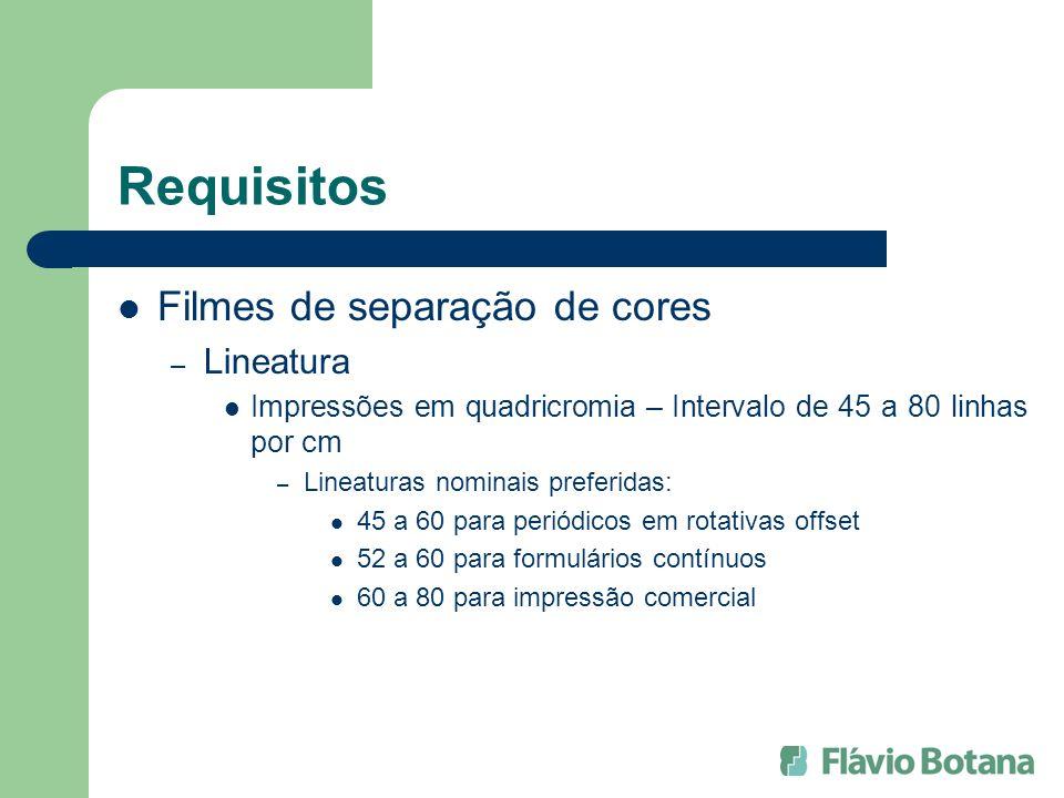 Requisitos Filmes de separação de cores Lineatura