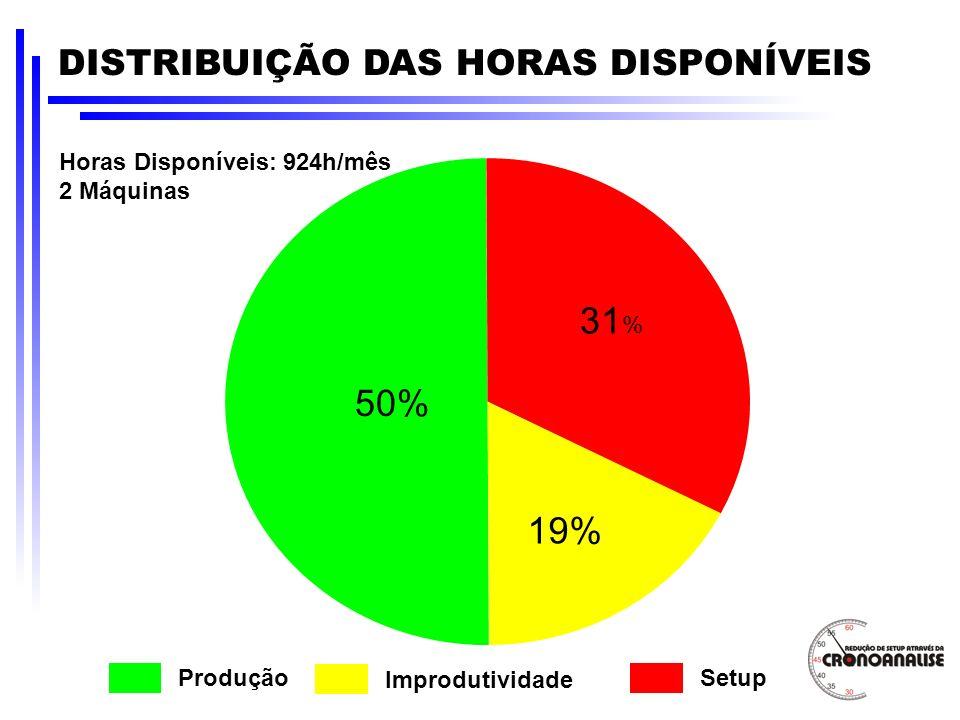 31% 50% 19% DISTRIBUIÇÃO DAS HORAS DISPONÍVEIS