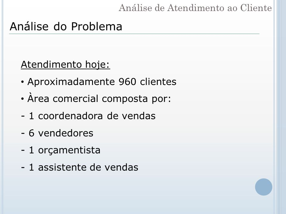 Análise do Problema Análise de Atendimento ao Cliente