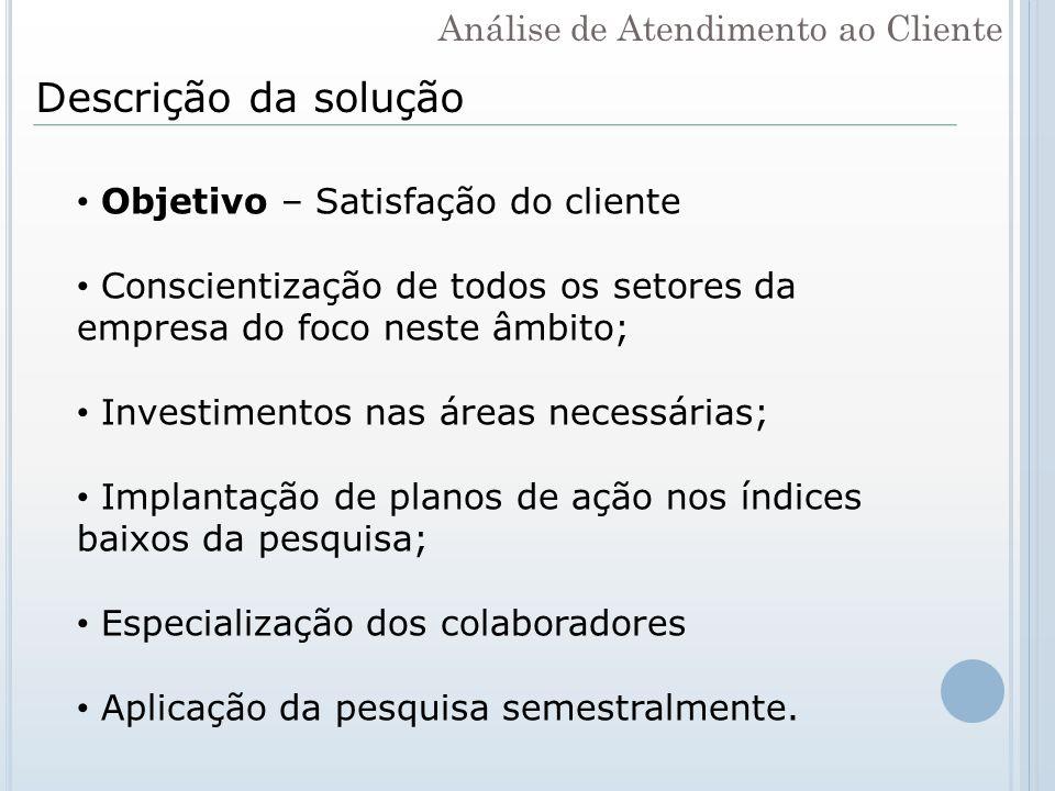 Descrição da solução Análise de Atendimento ao Cliente