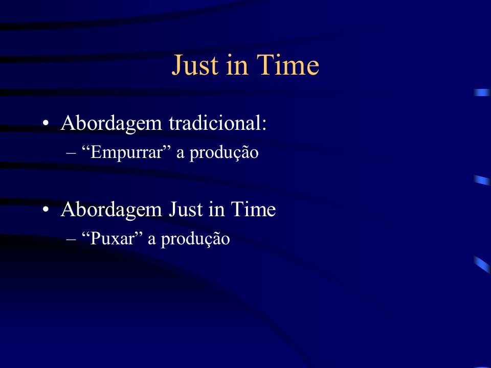 Just in Time Abordagem tradicional: Abordagem Just in Time
