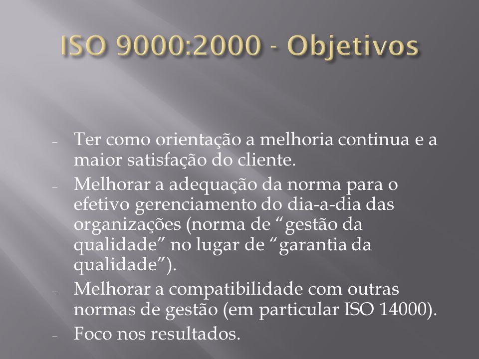 ISO 9000:2000 - Objetivos Ter como orientação a melhoria continua e a maior satisfação do cliente.