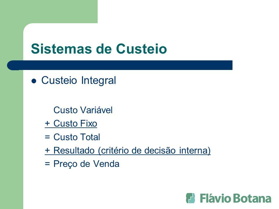 Sistemas de Custeio Custeio Integral Custo Variável + Custo Fixo