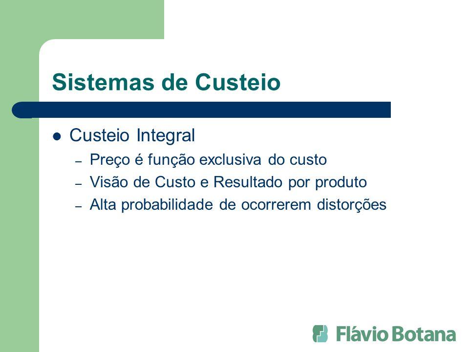 Sistemas de Custeio Custeio Integral Preço é função exclusiva do custo