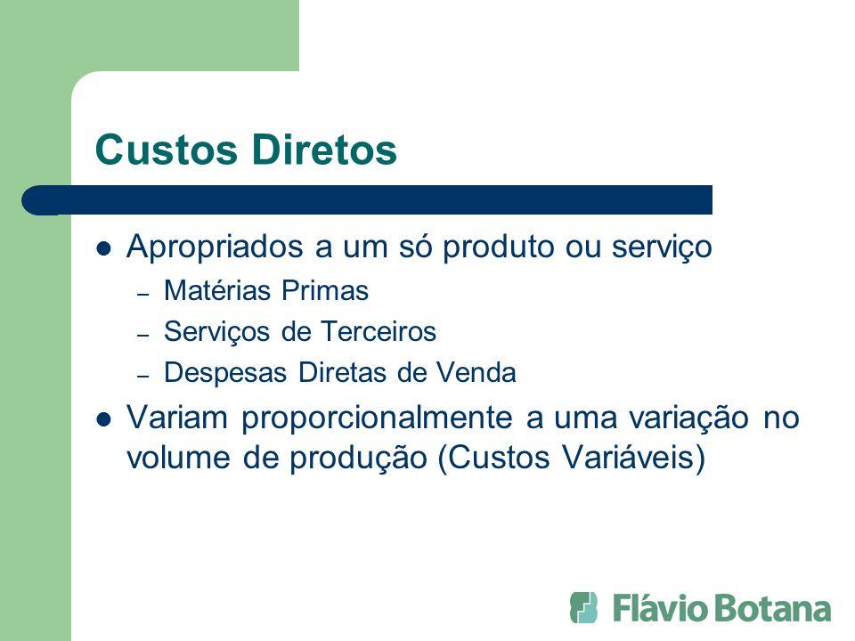 Custos Diretos Apropriados a um só produto ou serviço