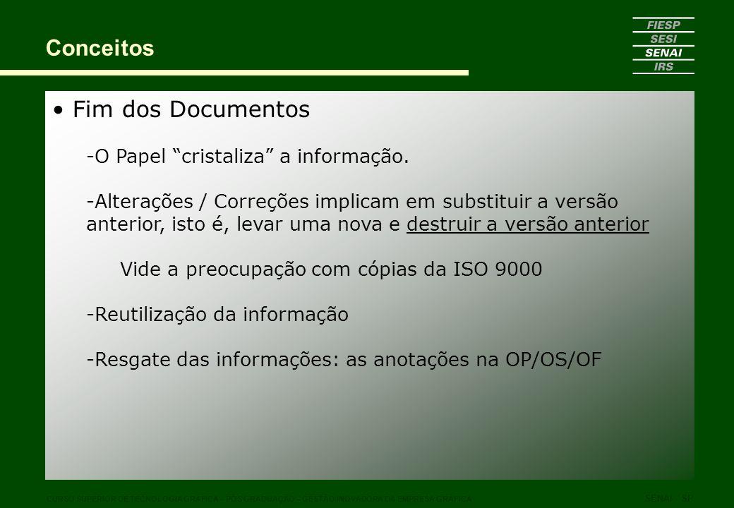 Conceitos Fim dos Documentos O Papel cristaliza a informação.