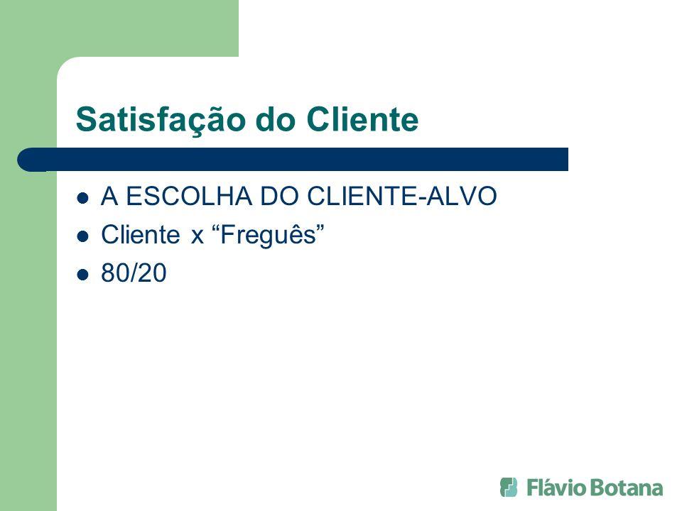 Satisfação do Cliente A ESCOLHA DO CLIENTE-ALVO Cliente x Freguês