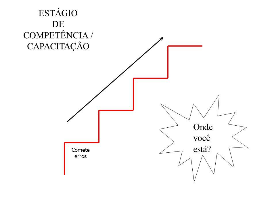 ESTÁGIO DE COMPETÊNCIA / CAPACITAÇÃO Onde você está Comete erros