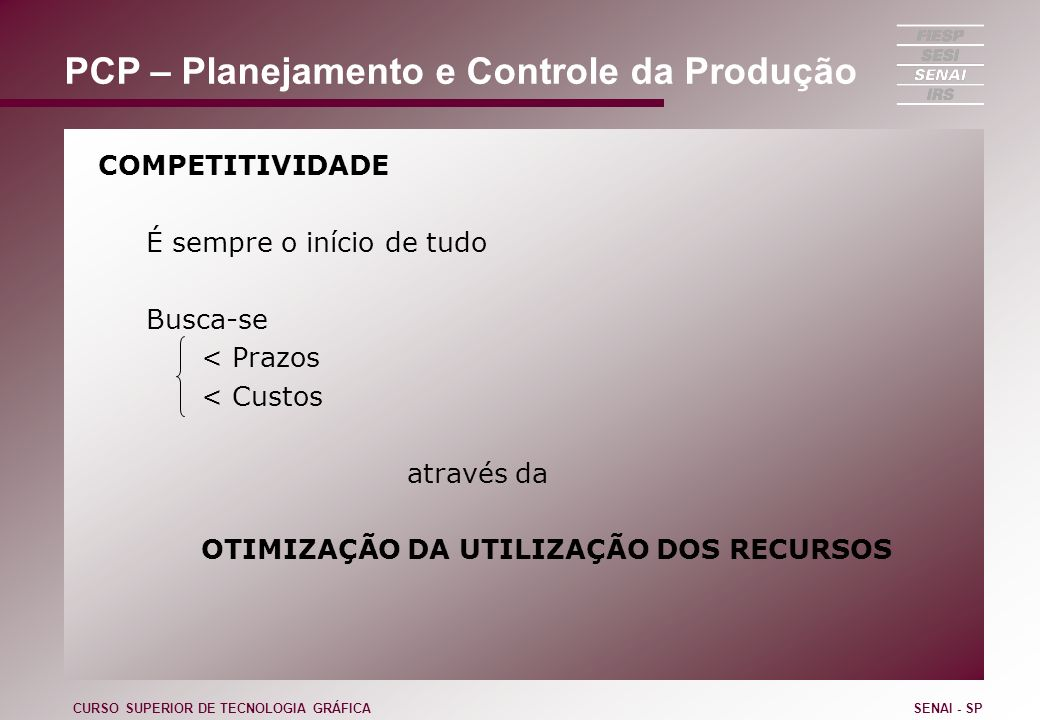 PCP – Planejamento e Controle da Produção
