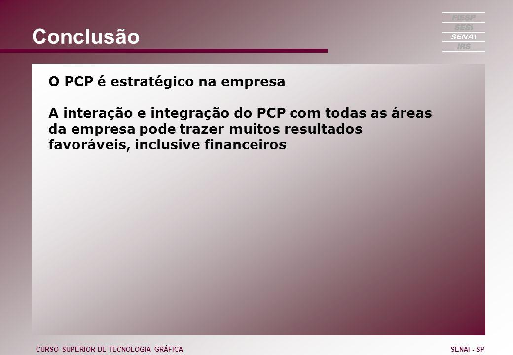 Conclusão O PCP é estratégico na empresa