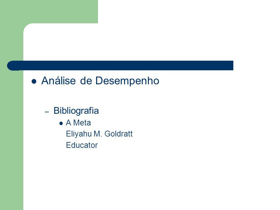 Análise de Desempenho Bibliografia A Meta Eliyahu M. Goldratt Educator