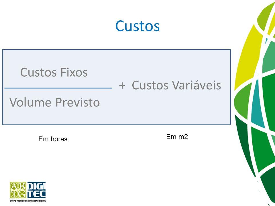 Custos Custos Fixos + Custos Variáveis Volume Previsto Em m2 Em horas