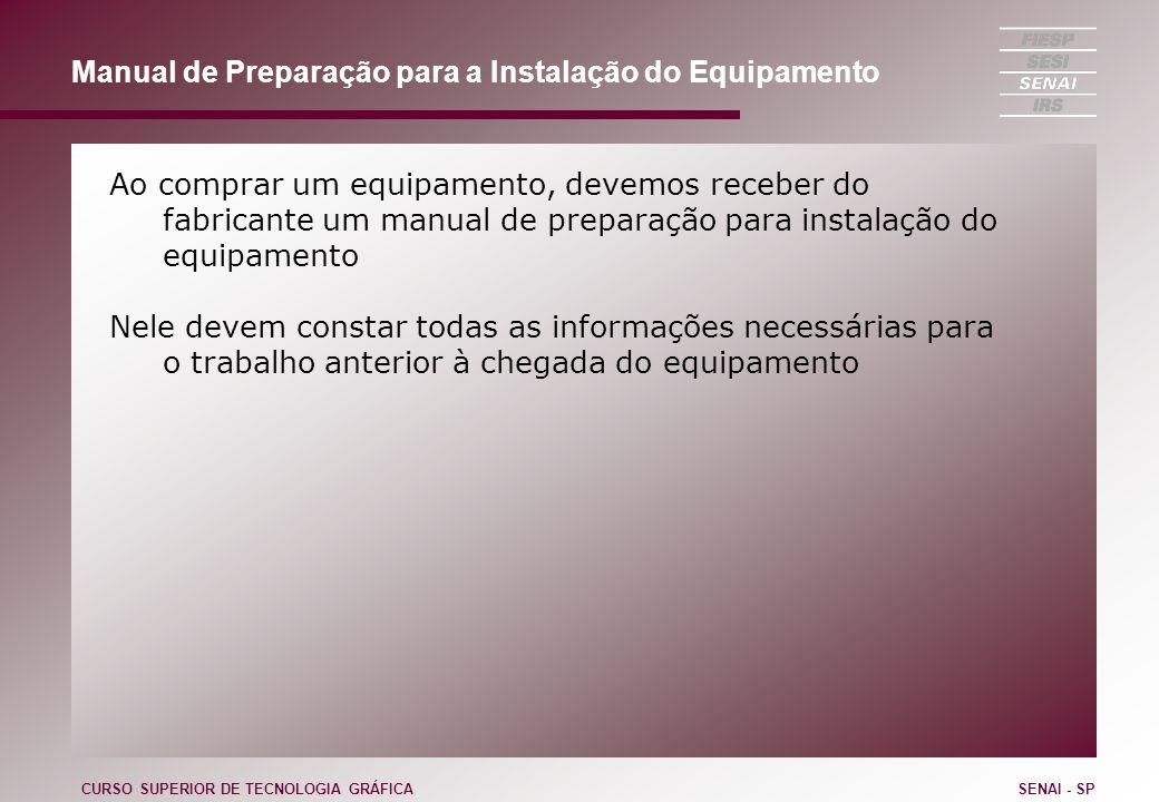 Manual de Preparação para a Instalação do Equipamento