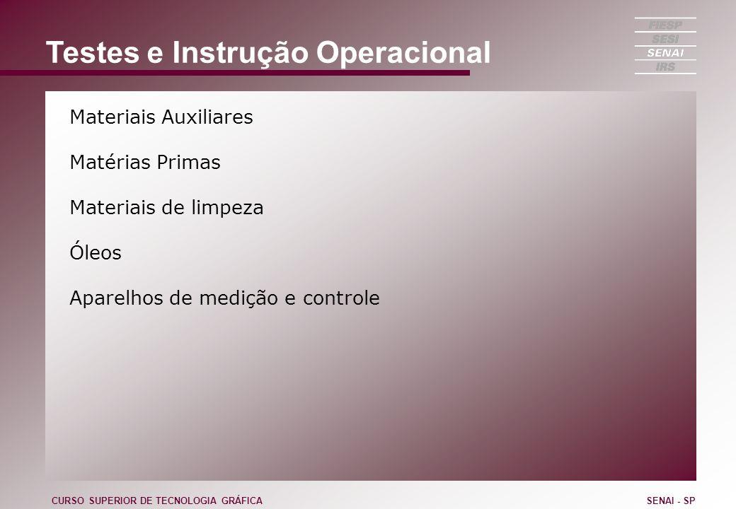 Testes e Instrução Operacional