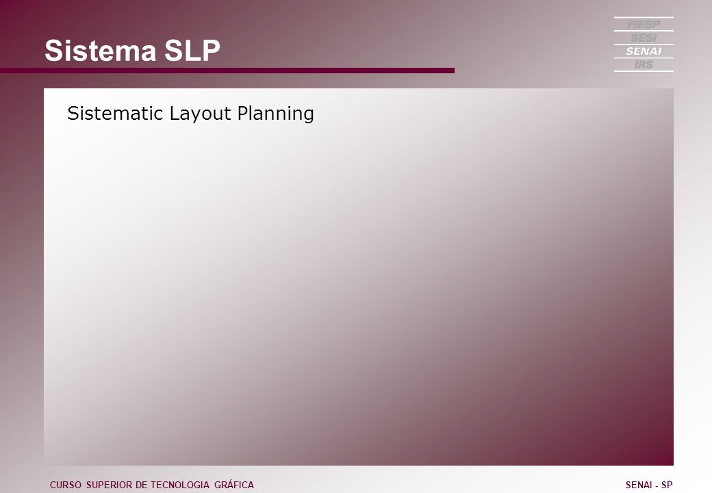 Sistema SLP Sistematic Layout Planning