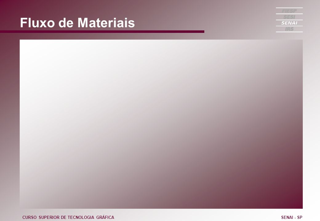 Fluxo de Materiais CURSO SUPERIOR DE TECNOLOGIA GRÁFICA SENAI - SP