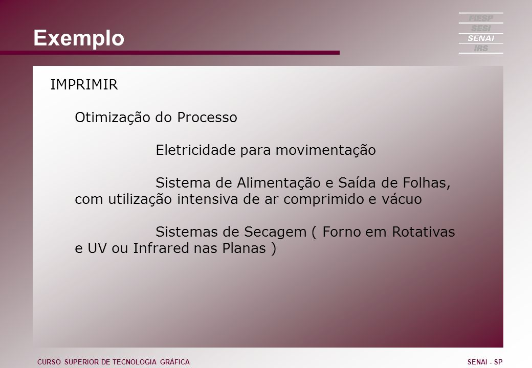 Exemplo IMPRIMIR Otimização do Processo Eletricidade para movimentação
