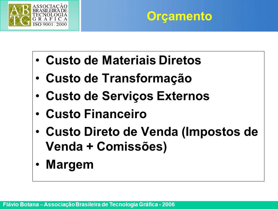 Orçamento Custo de Materiais Diretos. Custo de Transformação. Custo de Serviços Externos. Custo Financeiro.