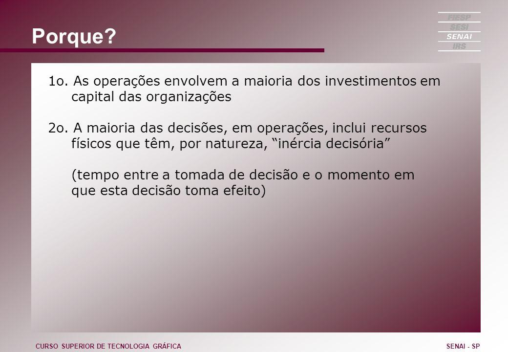 Porque 1o. As operações envolvem a maioria dos investimentos em capital das organizações.