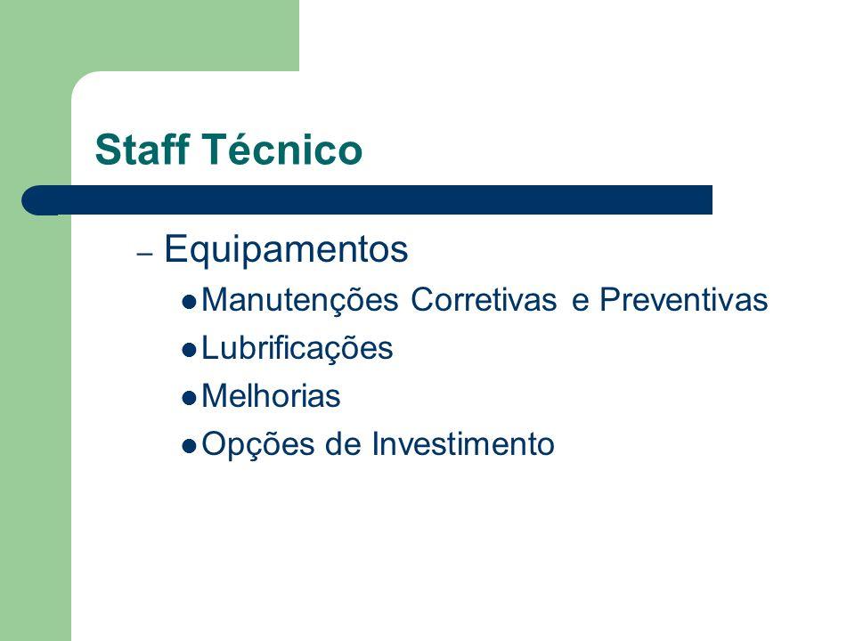 Staff Técnico Equipamentos Manutenções Corretivas e Preventivas