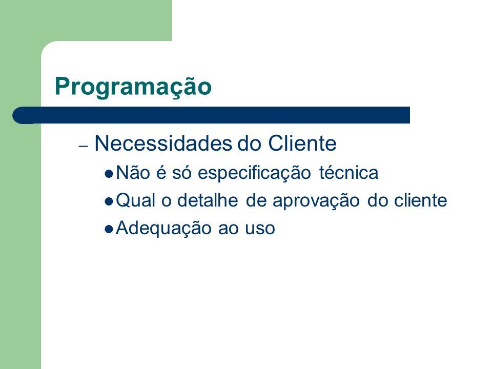 Programação Necessidades do Cliente Não é só especificação técnica
